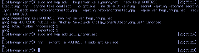 Імпорт ключа за допомогою apt-key