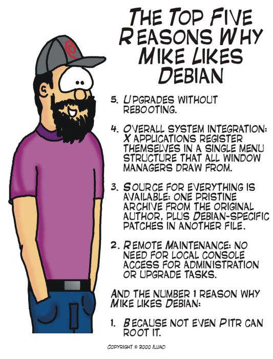 Top 5 reasons why Mike Likes Debian